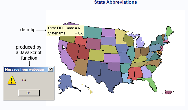 Examples Creating Interactive Java Output SASGRAPHR - Us map with abbreviations and state name