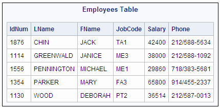 Updating data in a proc sql table sas r 9 3 sql for Sql table design questionnaire
