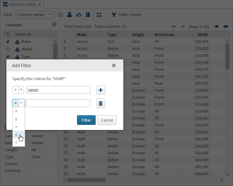 filtering and sorting data sas r studio 3 4 user s guide