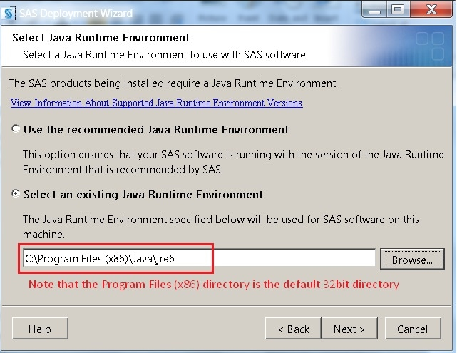 40501 - SAS® 9.2 requires JRE 1.6.0_14 32-bit on Microsoft Windows 7