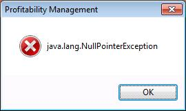 44552 - Java NullPointerException error or some libraries might be