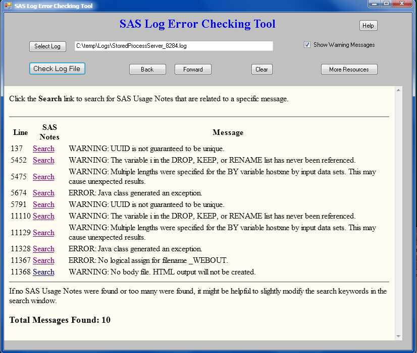 44852 SAS Log Error Checking Tool Is Available For Download