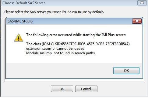 50586 when you invoke sas iml studio and select a sas server an