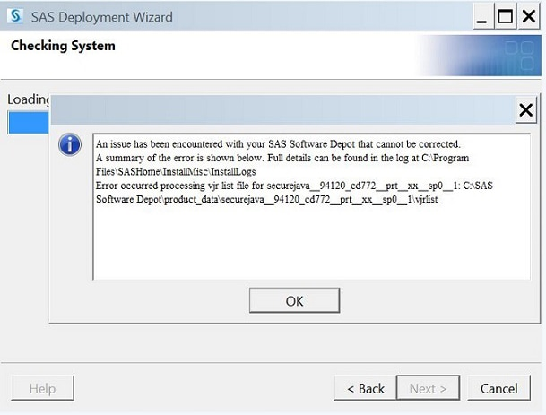 58549 when installing sas 9 4 you might see an error about the