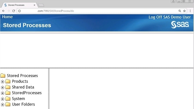 59047 - The SAS® Stored Process Web Application index page displays ...