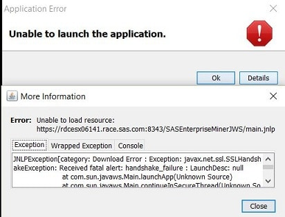 unable to load java runtime environment