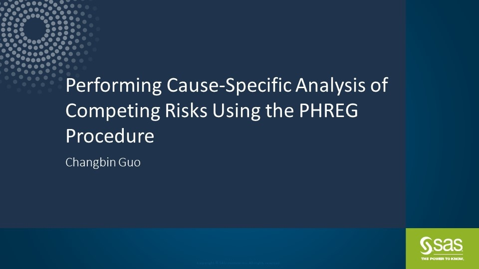 Performing Cause-Specific Analysis of Competing Risks Using the PHREG Procedure