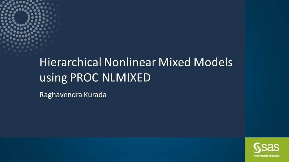 Hierarchical Nonlinear Mixed Models using PROC NLMIXED