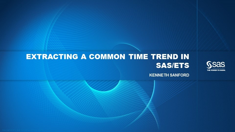 Extracting a Common Time Trend in SAS/ETS
