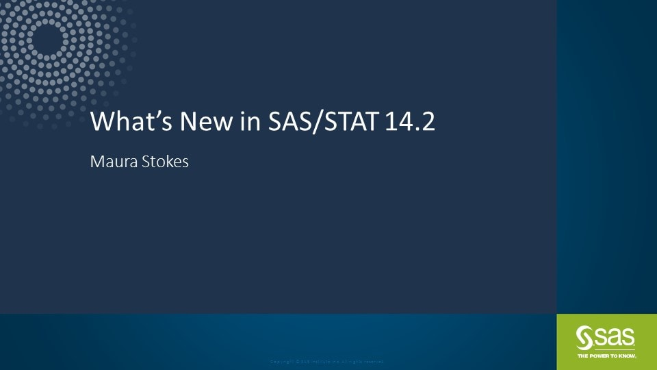 What�s New in SAS/STAT 14.2