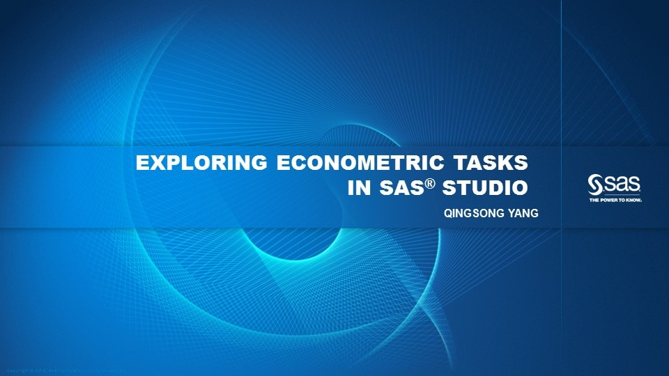 Exploring Econometric Tasks in SAS Studio