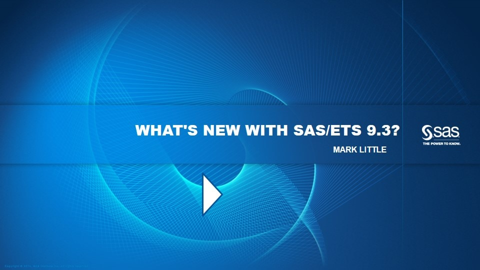 What's New with SAS/ETS 9.3?