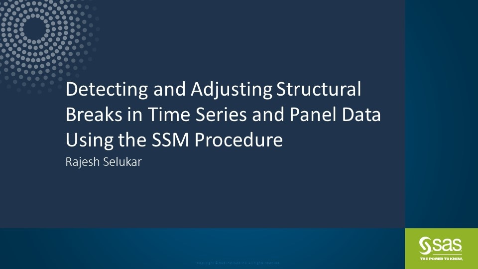 Detecting and Adjusting Structural Breaks in Time Series and Panel Data Using the SSM Procedure