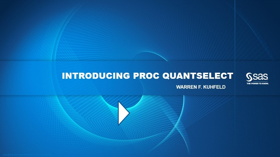 Introducing PROC QUANTSELECT