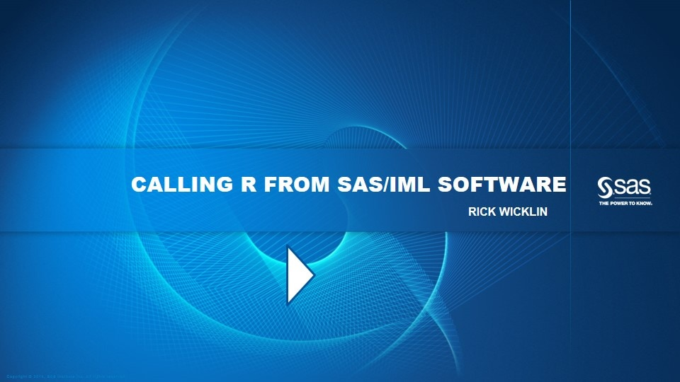 Calling R from SAS/IML Software