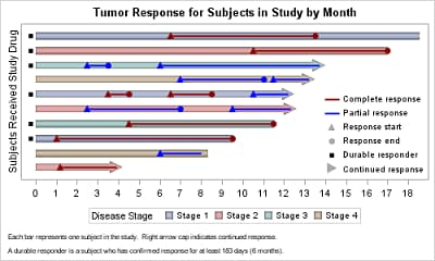 Tumor Response for Subjects in Study by Month