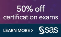 Save 50% on SAS certification exams