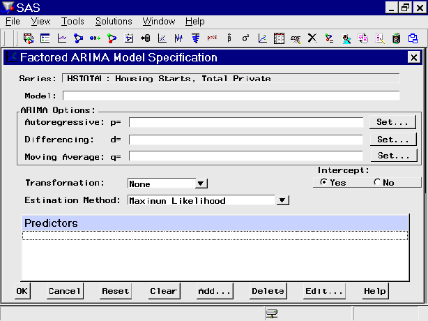 Window Reference: Factored ARIMA Model Specification Window - 9 3