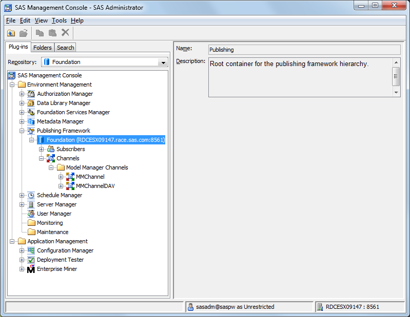 Configuring Channels and Subscribers for SAS Model Manager :: SAS(R