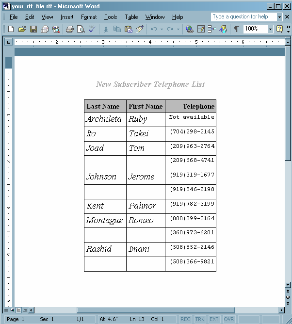 Creating And Using A User-Defined Table Definition