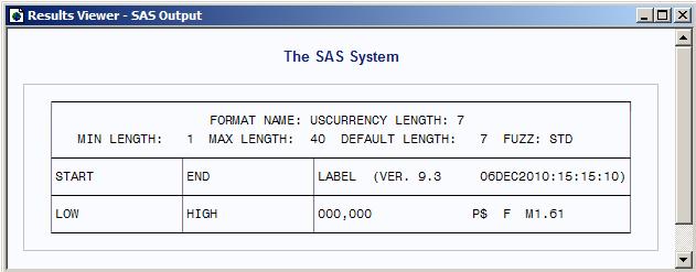Viewing a Format Definition Using SAS Explorer :: Base SAS(R