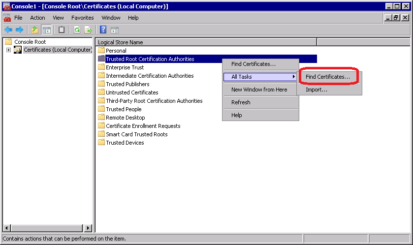 Add Your Certificates to the Windows CA Stores :: Encryption