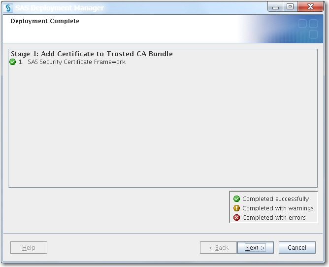 Manage Certificates in the Trusted CA Bundle Using the SAS