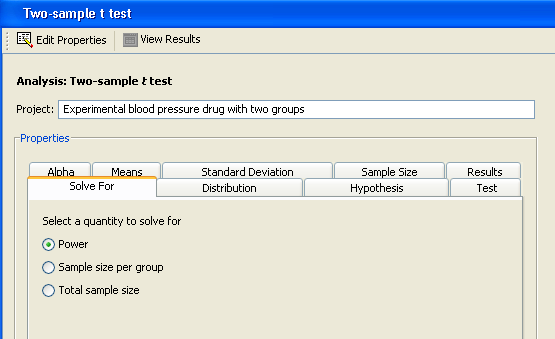 The Power and Sample Size Application: Test of Two Independent ...