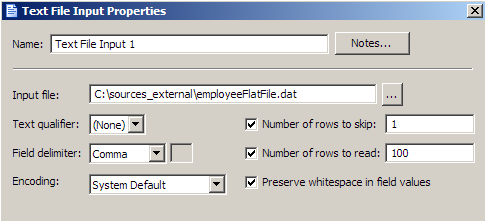 Using Text Files in a Data Job