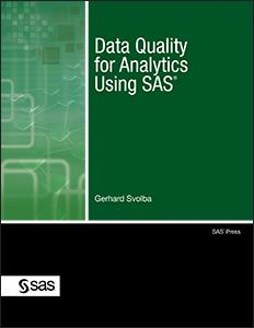 Data Quality for Analytics Using SAS Table of