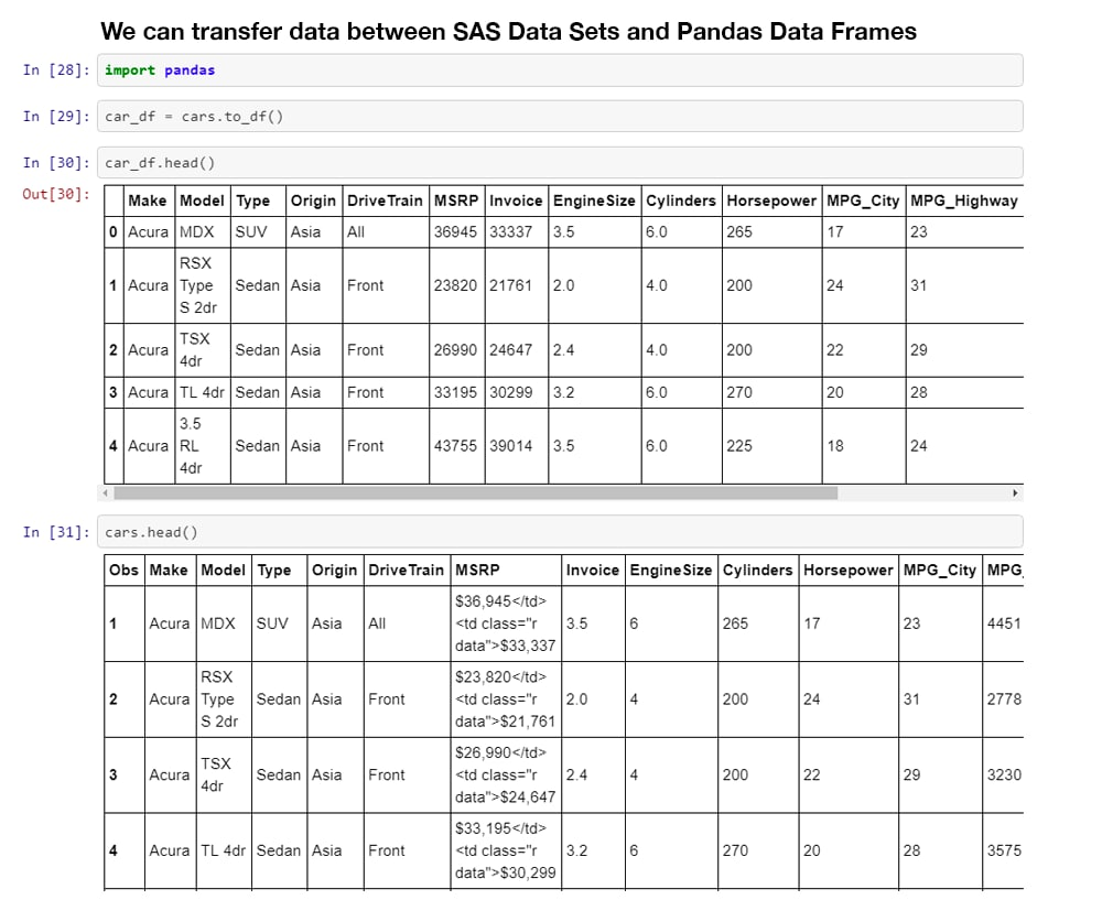 Transfer data between SAS Data Sets and Pandas Data Frames