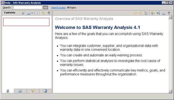 34814 - After starting SAS® Warranty Analysis Help, a help