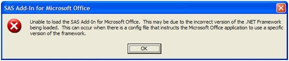 40584 - An error occurs when the SAS® Add-In 4 3 for Microsoft