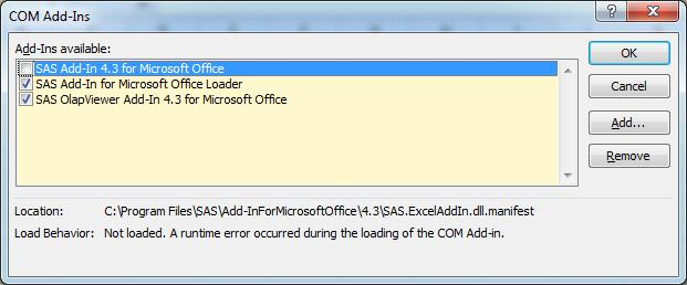41327 - The SAS® menu does not appear after a SAS® Add-In