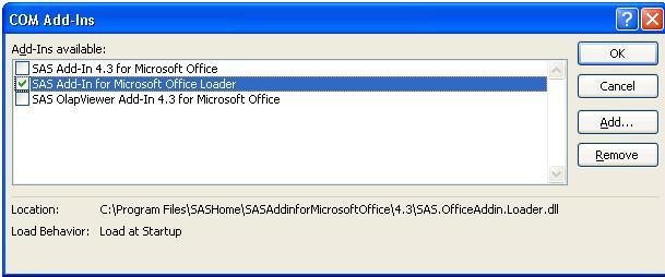 43331 - After installing SAS® Add-in for Microsoft Office