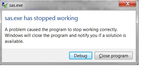 A problem caused the program to stop working correctly. Windows will close  the program and notify you if a solution is available.