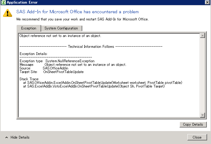 Sas Error Update