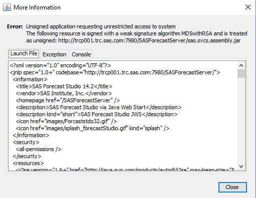 61401 - SAS® Forecast Studio fails to launch (via Java Web Start