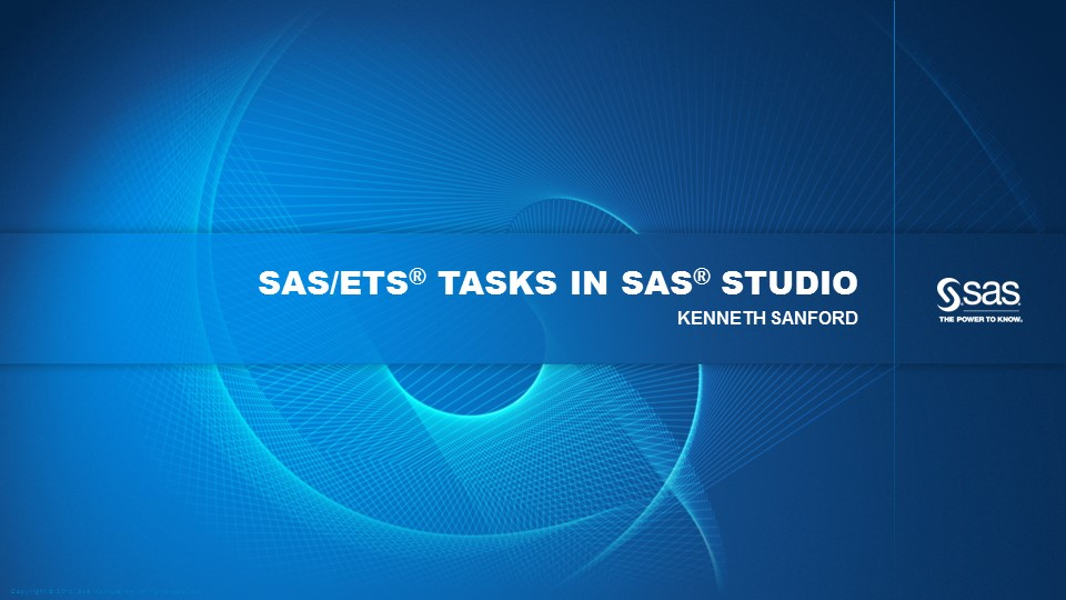 SAS/ETS Tasks in SAS Studio