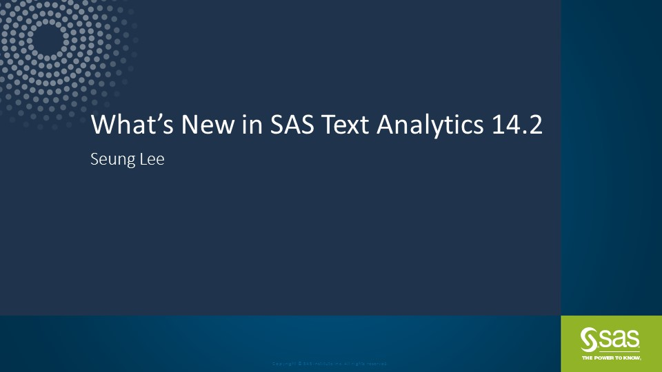 What's New in SAS Text Analytics 14.2