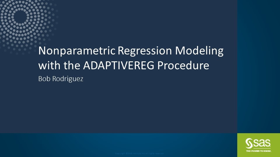 Nonparametric Regression Modeling with the ADAPTIVEREG Procedure