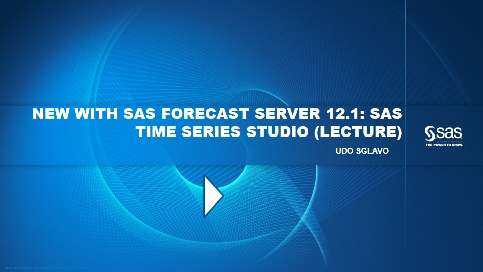 New with SAS Forecast Server 12.1: SAS Time Series Studio (Lecture)