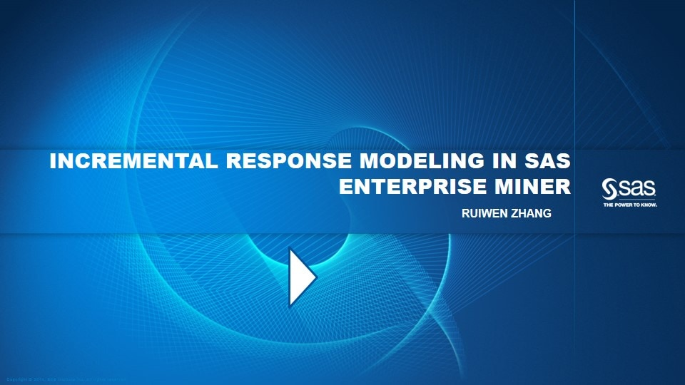 Incremental Response Modeling in SAS Enterprise Miner