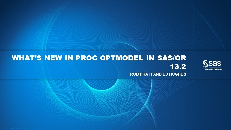 What's New in PROC OPTMODEL in SAS/OR 13.2