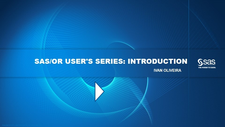 SAS/OR User's Series: Introduction