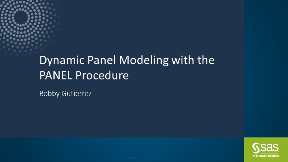 Dynamic Panel Modeling with the PANEL Procedure