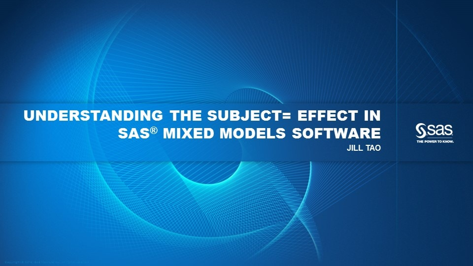 Understanding the Subject= Effect in SAS Mixed Models Software