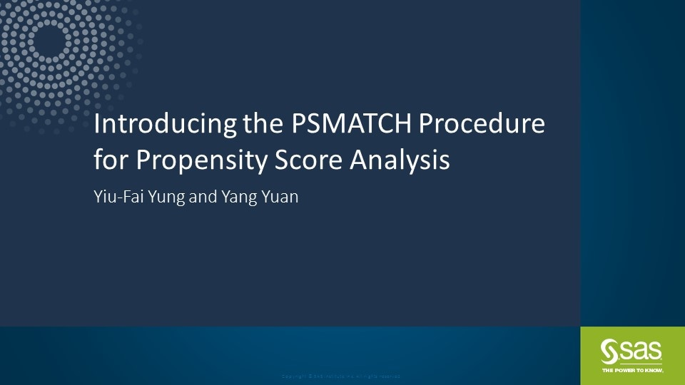 Introducing the PSMATCH Procedure for Propensity Score Analysis