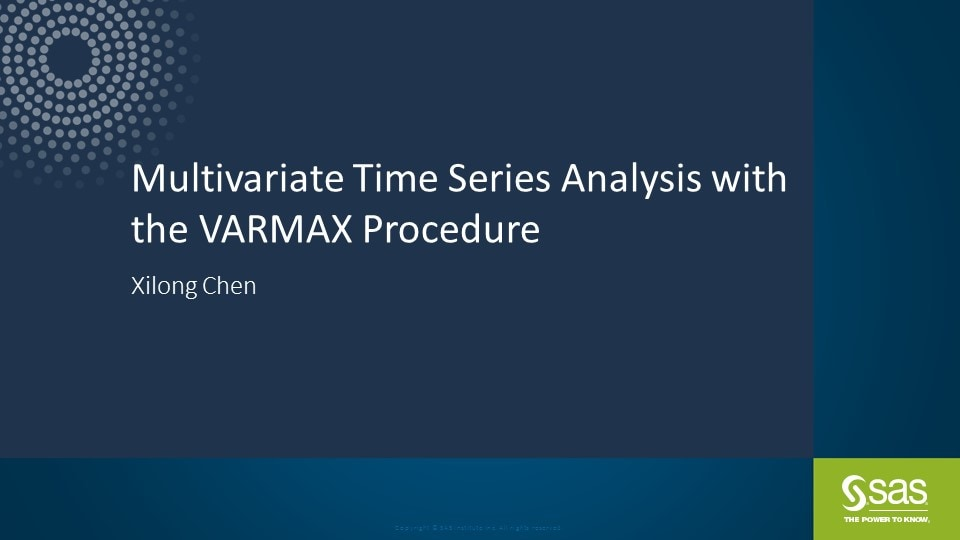 Multivariate Time Series Analysis with the VARMAX Procedure