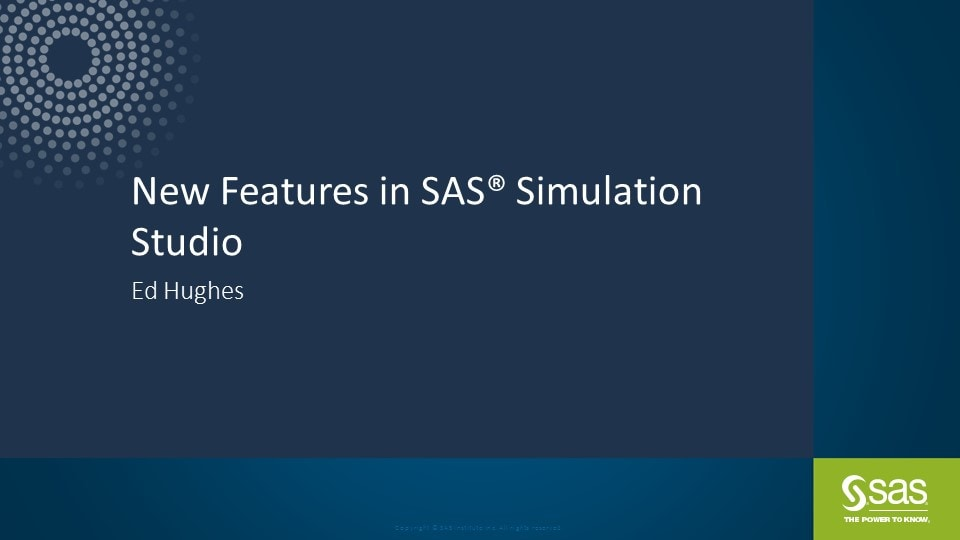 New Features in SAS Simulation Studio